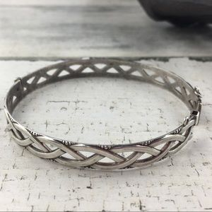 Sterling Silver Birmingham Braided Hinged Bracelet